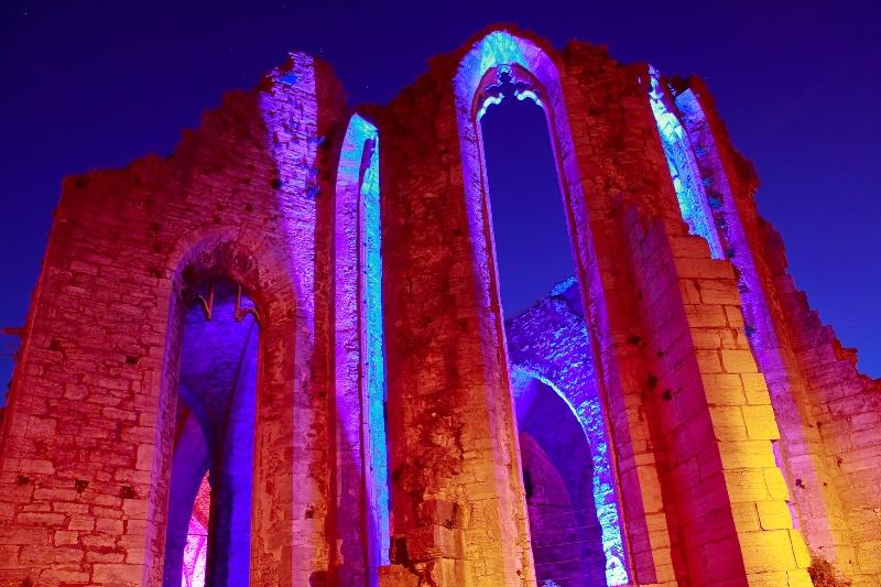 Medieval church at night