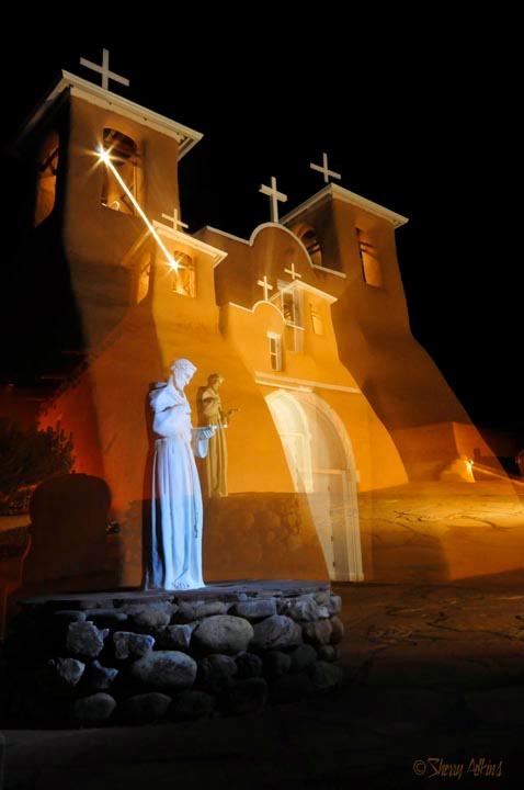 Taos Church at night