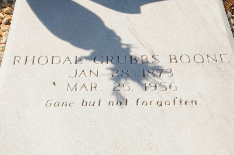 TOMB OF MY MOTHER'S AUNT RHODAE GRUBBS BOONE