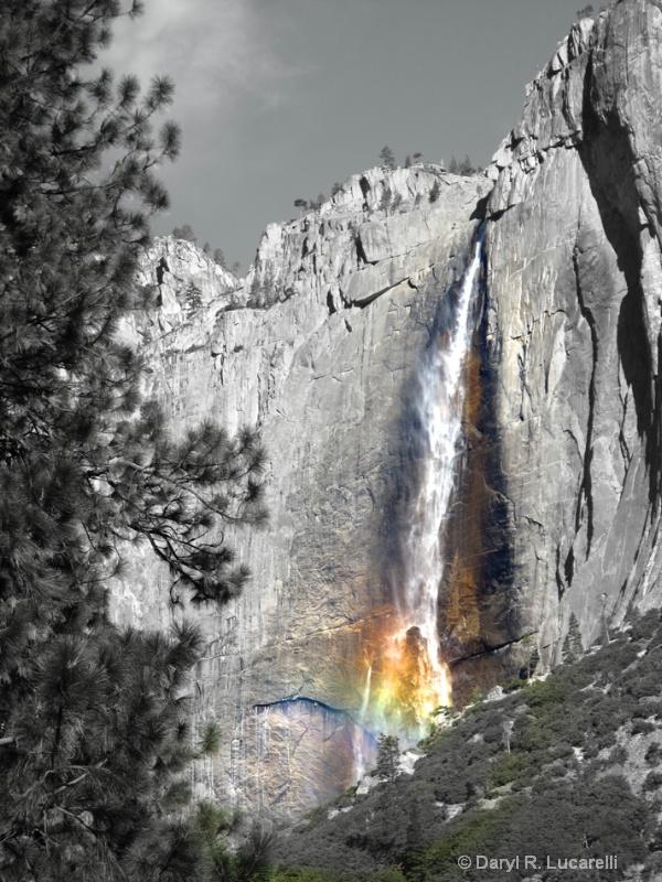 0456 B & W Yosemite Falls Rainbow Mist