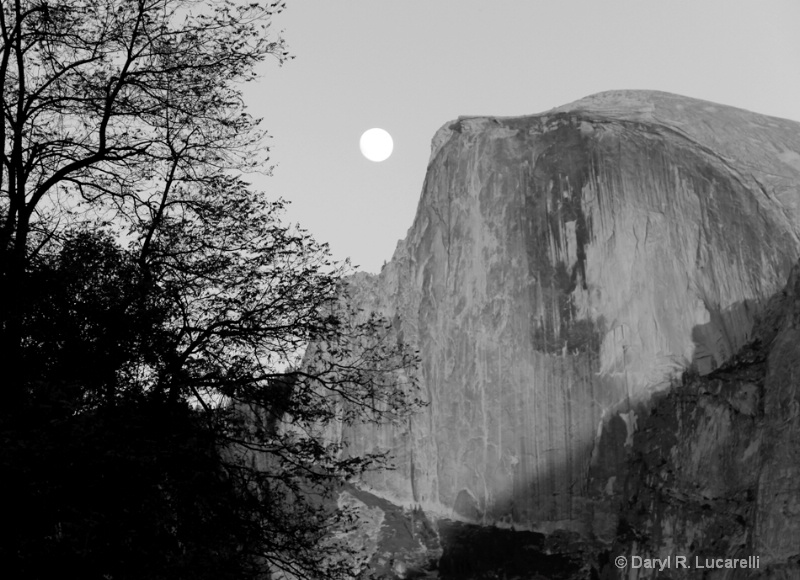 4169 B & W Moon over Half Dome