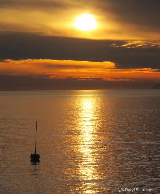 Laguan Beach Sunset w/Sailboat off Main Beach
