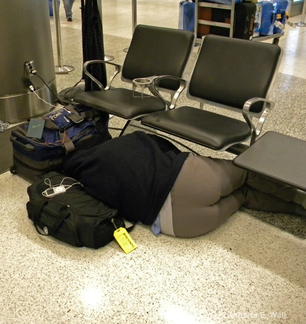 joan sleeping at miami airport