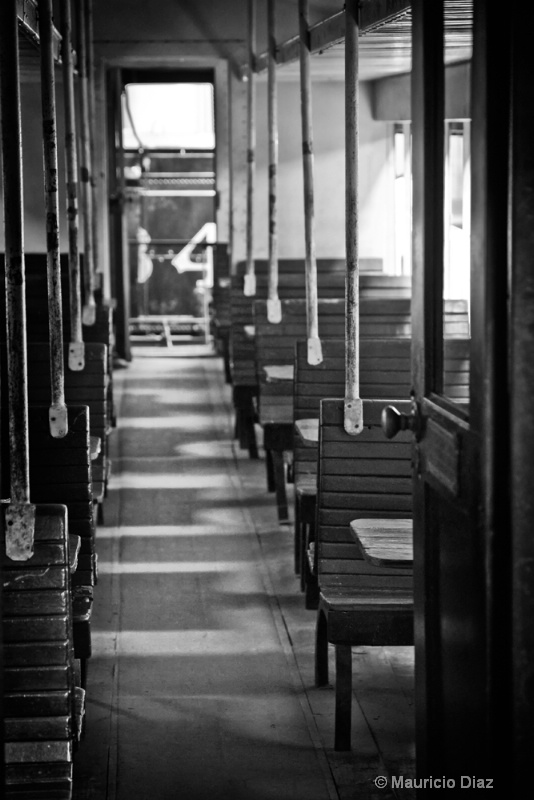 Inside Wagon Black and White
