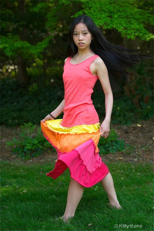 yumiko in pink skirt