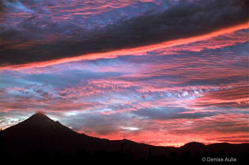 Volcano Popocatepetl and the Descending Cloud