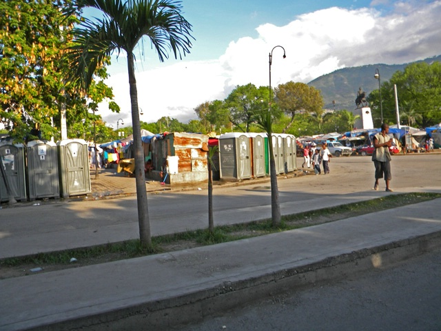 latrines in tent city