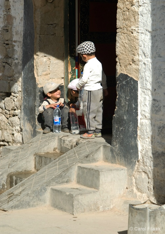 3 Boys on Stoop, Lhasa, Tibet