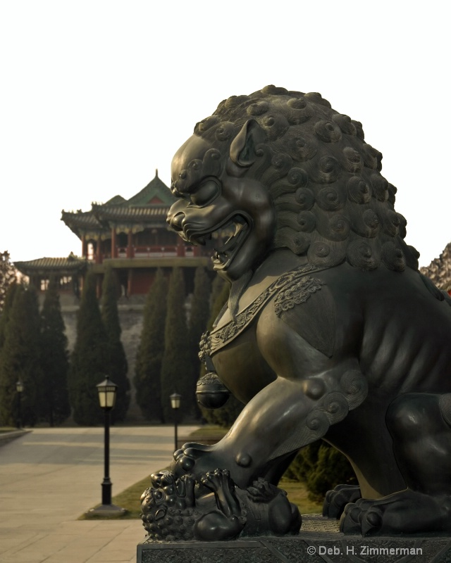 Chinese Lioness bronze at the Summer Palace