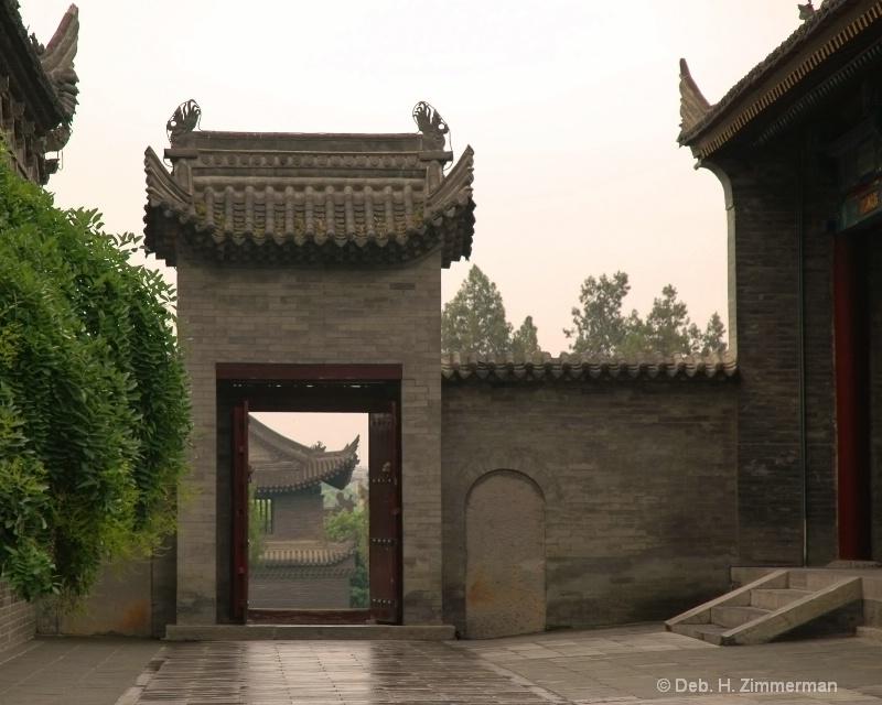Looking through wall at Big Goose Pagoda