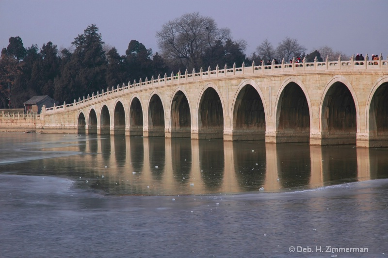 17 arches bridge in cold winte