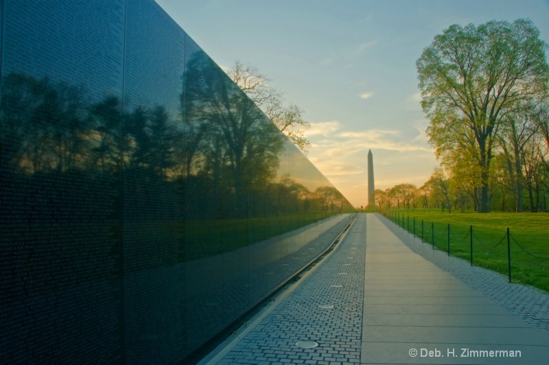 Along the Vietnam Memorial at sunrise