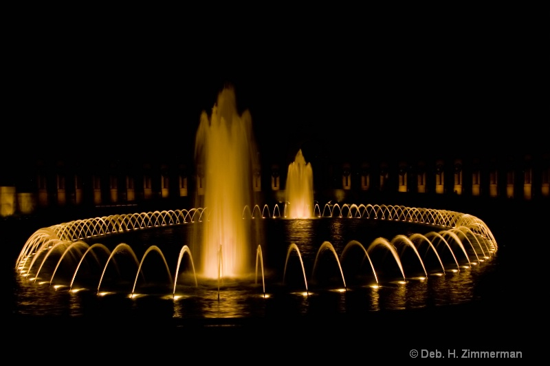 WWII Memorial Fountains at night