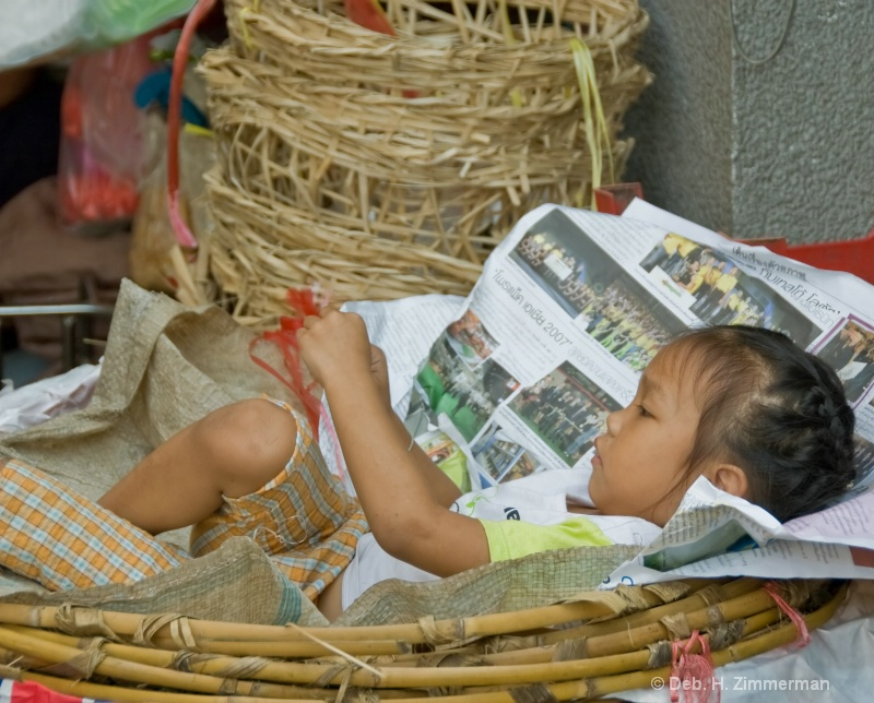 Basketful of Girl at Bangkok Flower Market