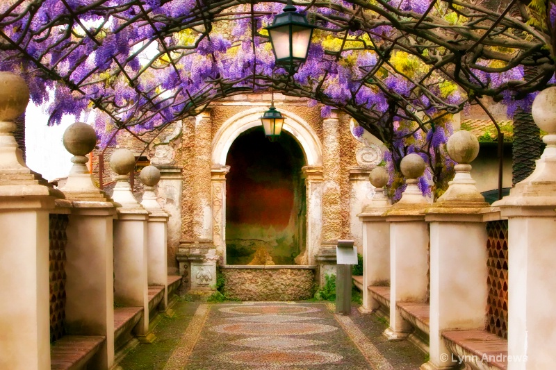 Wisteria and Arches in Tivoli Gardens, Italy