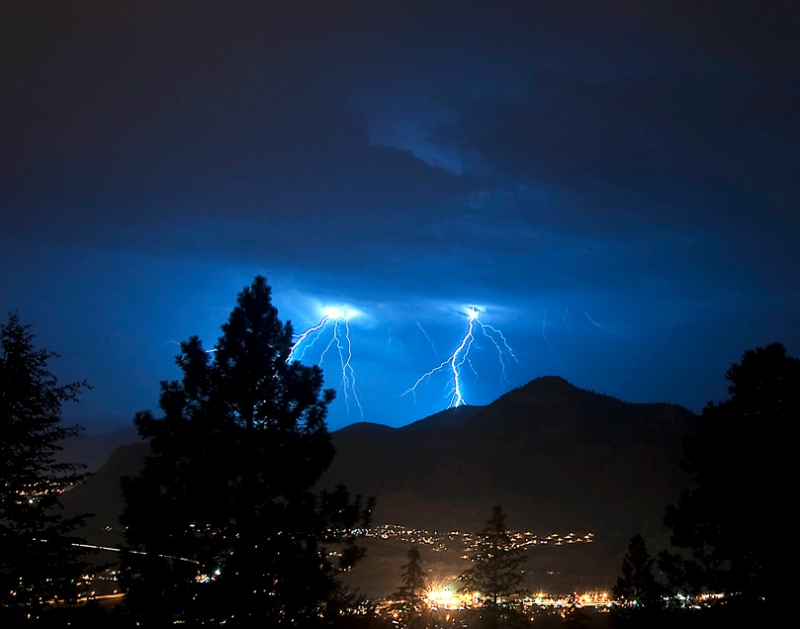 Lightning Strikes over Kamloops