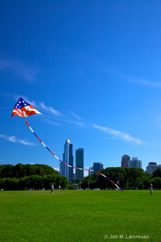 Flying a kite near downtown Chicago