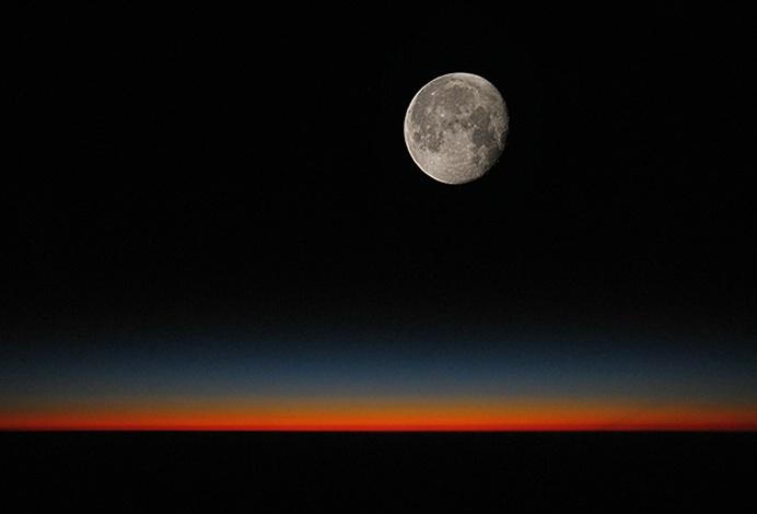 Earth's Rim and Moon