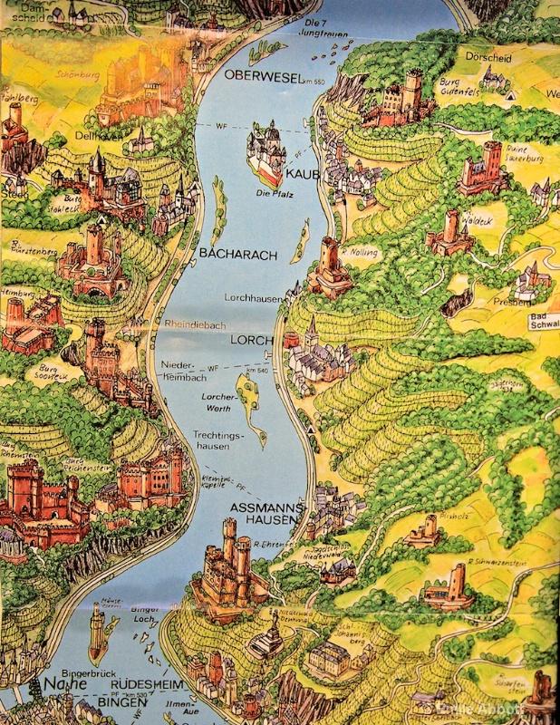 Map Oberwesel to Rudesheim