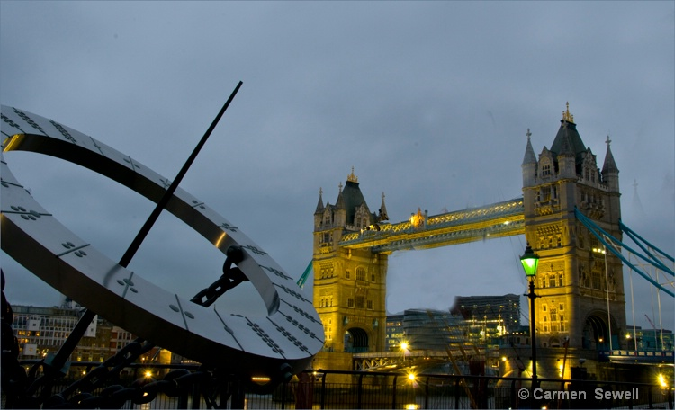 Tower Bridge with Sundial at Dusk