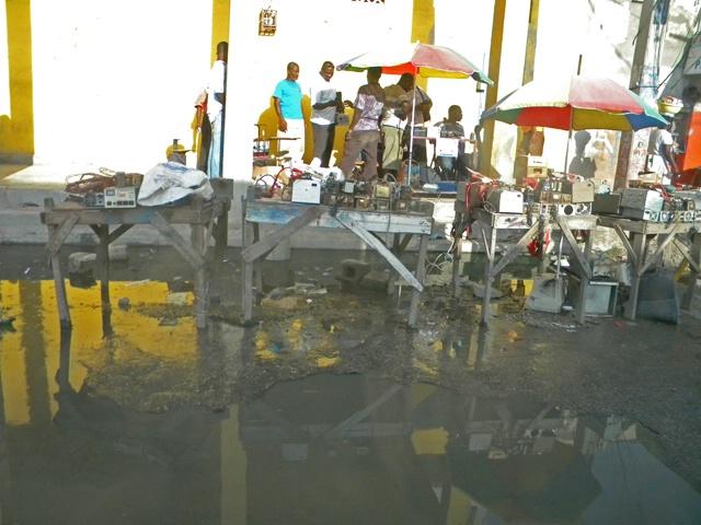 roadside market after rain