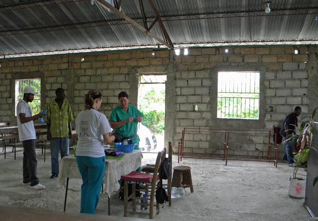setting up clinic at church on outskirts of City S