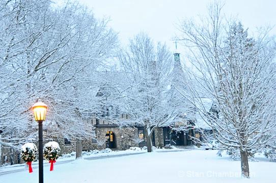 Barrington Town Hall in Winter