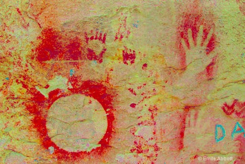 Two technique handprints in ire color space