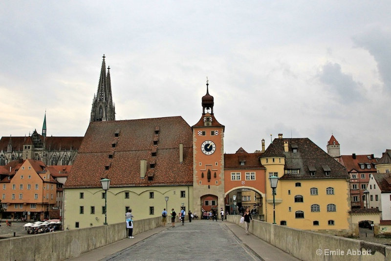Regensburg City wall, tower, gate and Cathedral