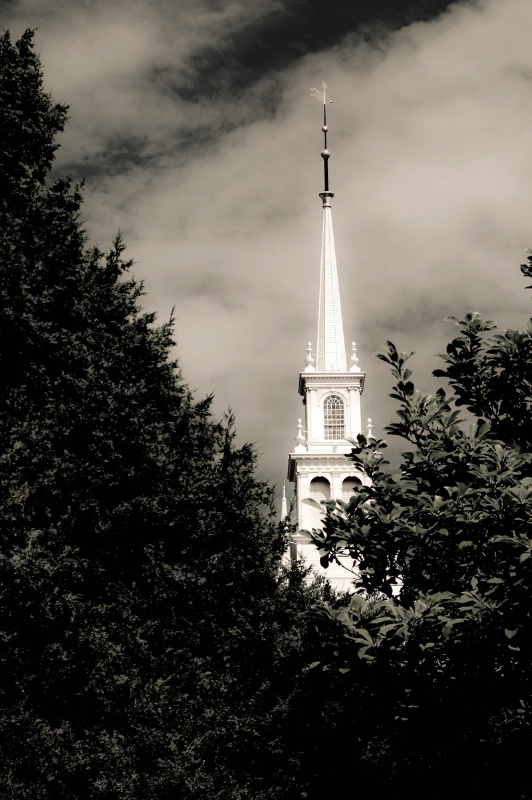 B&W RI Church Steeple