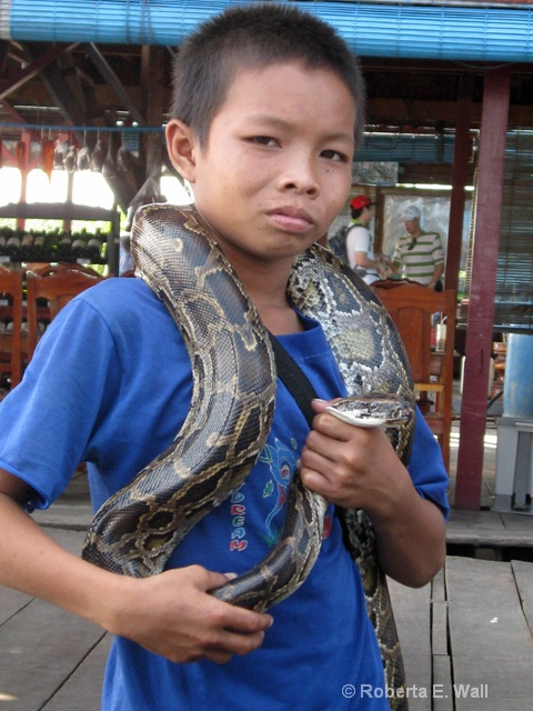 Cambodian child with python