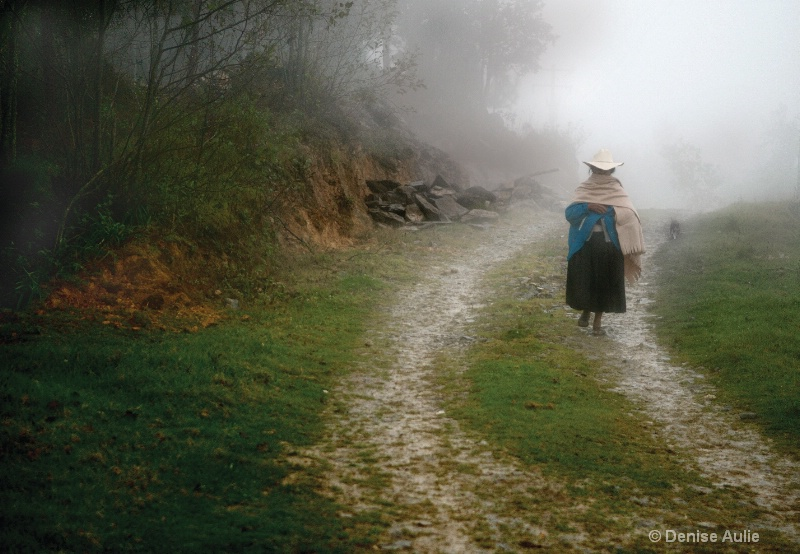 Woman Walking in Fog