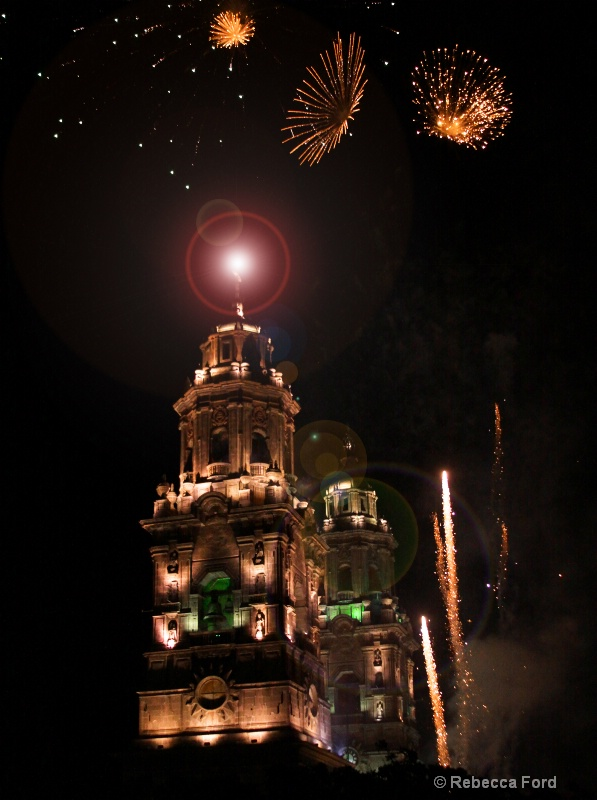 Lens flare added to Cathedral with fireworks