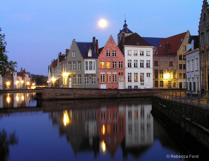Moon over Brugge