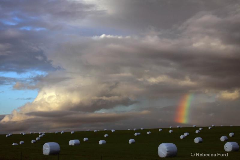 Rainbow with Hay Bales
