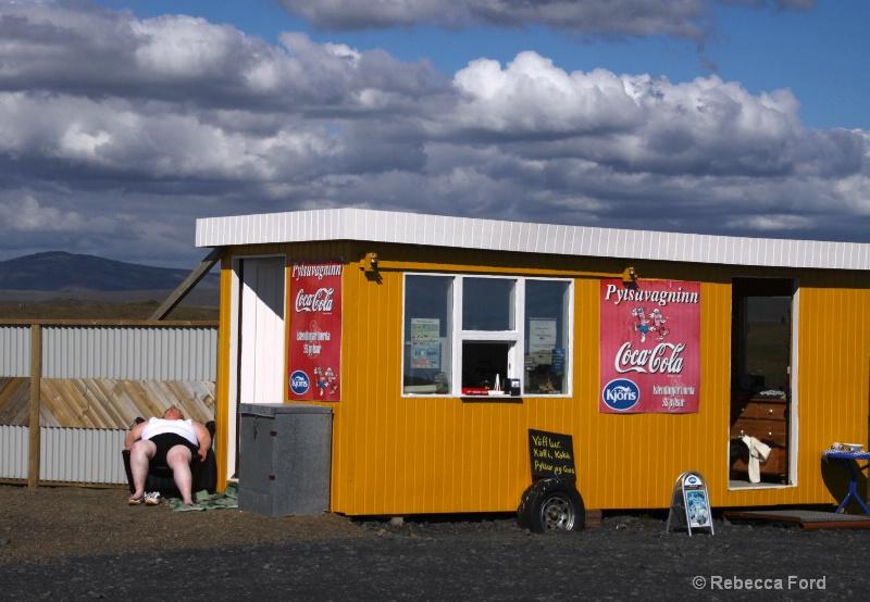 Sunbath at a Hotdog Stand in Iceland
