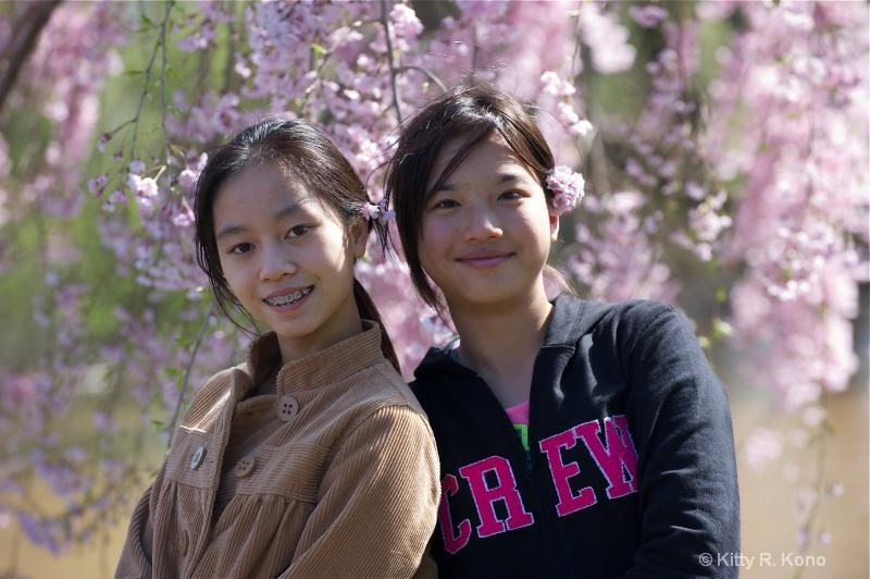 Yumiko, Julia and Cherry Blossoms in Philadelphia