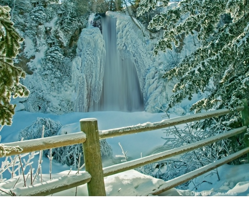 Lil Spearfish Falls with Sunlit Fence