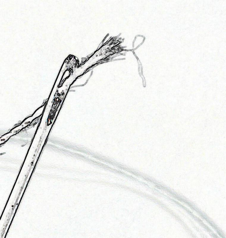 Through the eye of a needle.