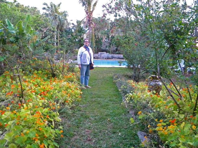 joan in garden of inn