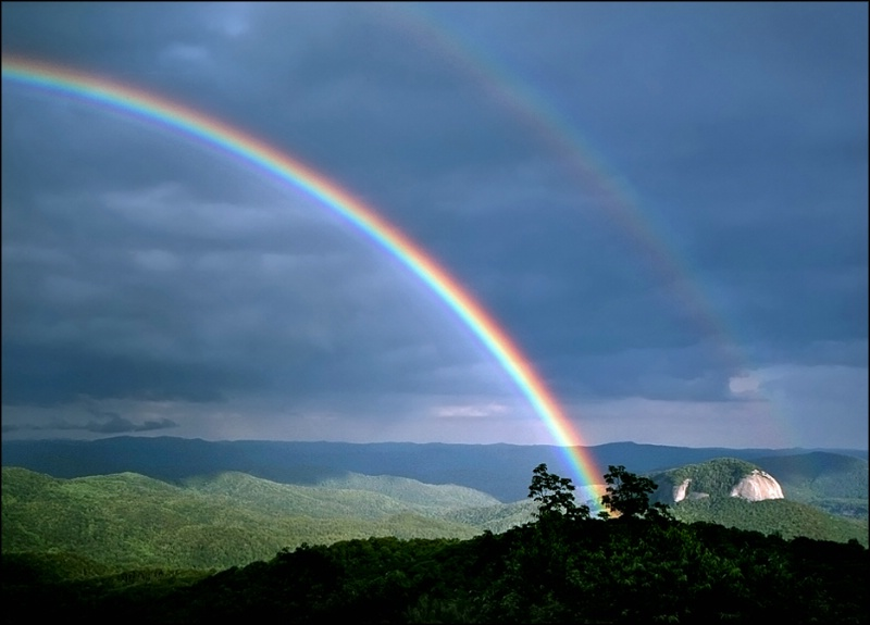 Double Rainbow over Looking Glass Rock