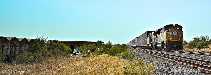 Union Pacific passing SHUMLA Station