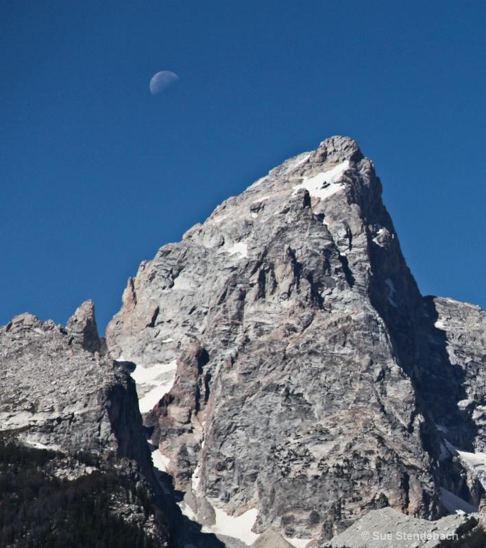 Moon and Mountain,Teton NP, WY