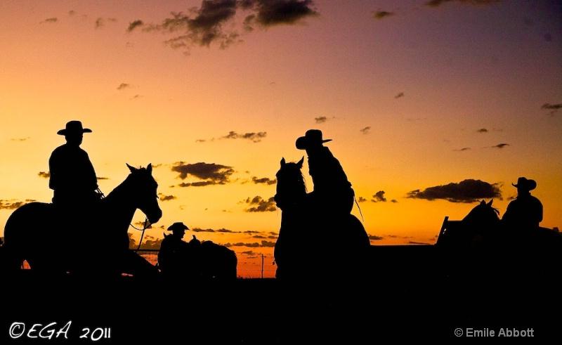 Cowboy Silhouettes at predawn
