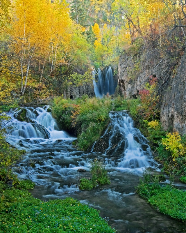 Roughlock Falls pano in autumn colors