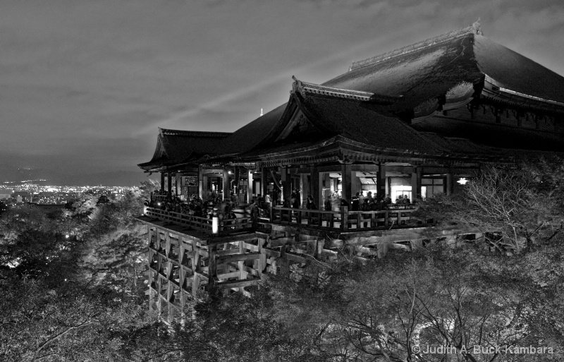 Kiyomizu Temple at Night black & white