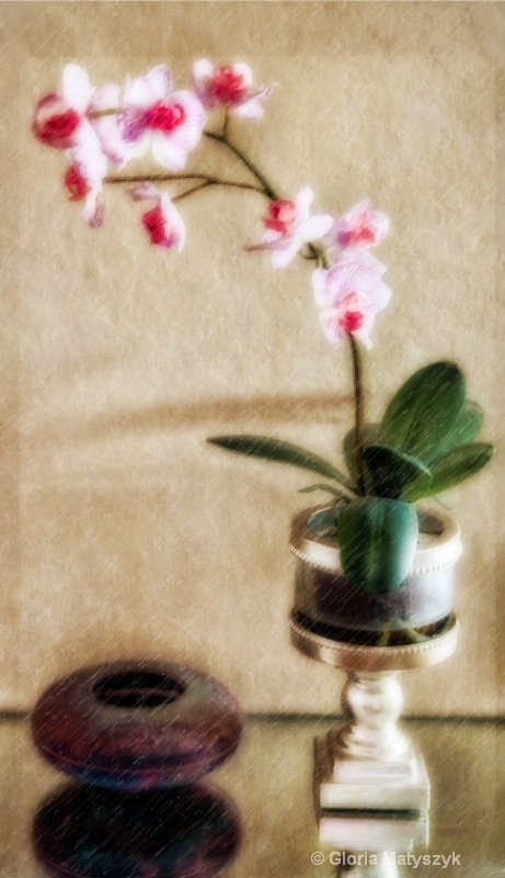 Orchid and raku pottery still life