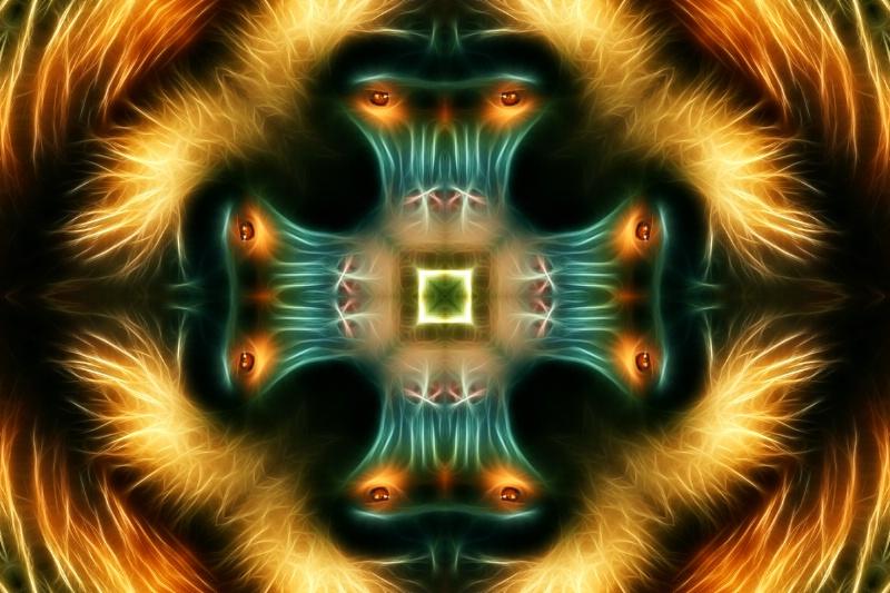 Baboon--Fractalius + Kaleidoscope