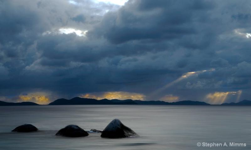 Storm over calm seas