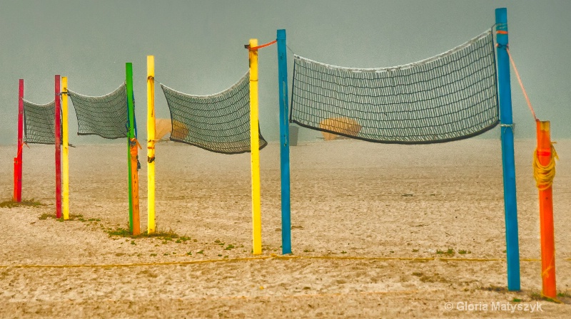 Volleyball nets on a foggy morning
